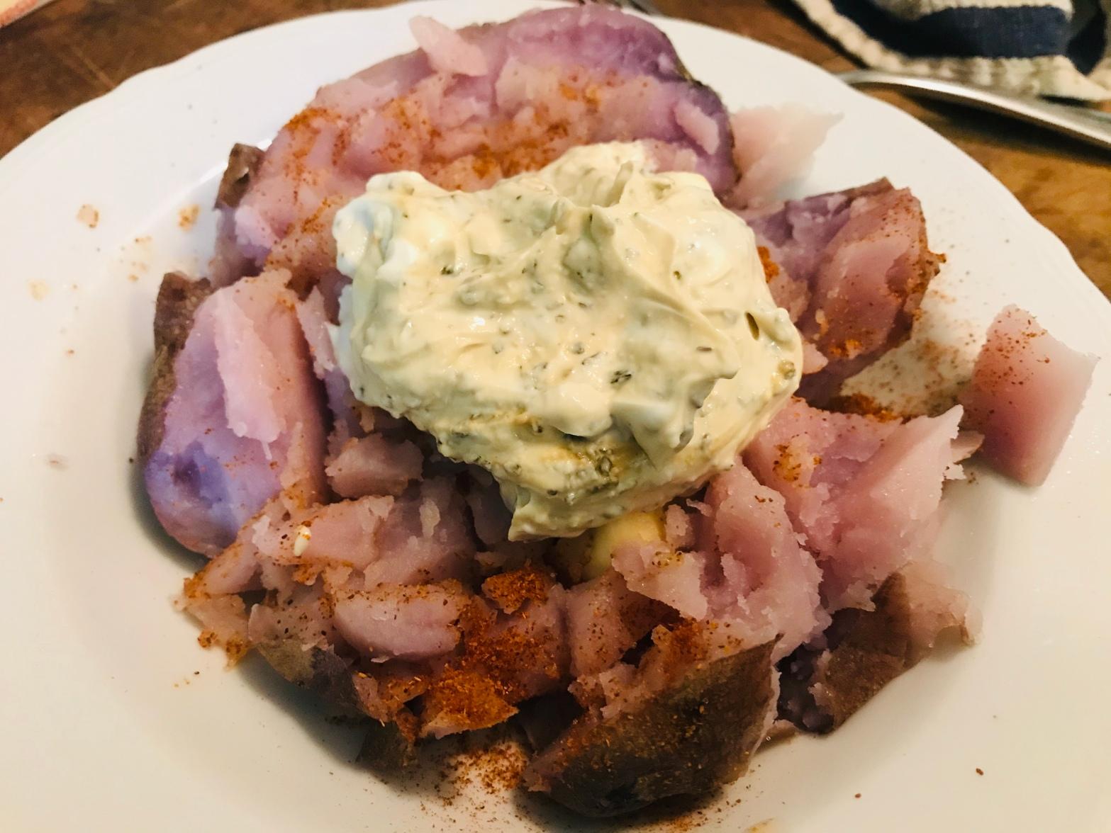 Sweet potato with a roasted cumin yogurt sauce